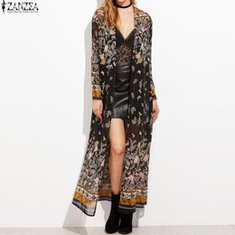 Wholesale wholesale summer jackets - Wholesale- 2017 ZANZEA Boho Womens Floral Print Chiffon Long Sleeve Kimono Summer Beach Cover Ups Maxi Long Tops Jacket Cardigans Plus Size