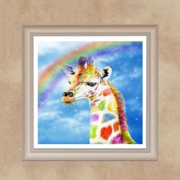 rainbow painting Promo Codes - New Fashion DIY Full Resin Diamond Painting Giraffe Rainbow Cross Stitch Embroidery Home Wall Decor Paint