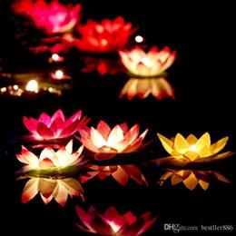casamento de velas de lótus Desconto Popular Artificial LEVOU Vela Flutuante Flor De Lótus Com Luzes Coloridas Mudou Para O Aniversário de Casamento Decorações Do Partido Suprimentos Ornamento
