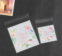 Wholesale Wedding Thank Gift Bags - 4 Sizes Thank You Candy Cookie Bags Wedding Birthday Party Craft Self-adhesive Plastic Biscuit Packaging Gift Bag GA25
