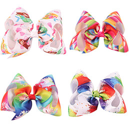 Wholesale paint hair - 8 Inch Large Hair Bow Hearts Paint Splatter Hair Clip Party Supplies Princess Fairy With Rhinrstone Centre