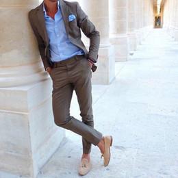 calças de xadrez vermelhas mais tamanho Desconto 2018 Mais Recente Casaco Calça Projetos homens marrons terno de negócios inteligentes ternos casuais para o casamento rua praia baile de verão jaqueta + calça