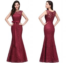 Wholesale Holidays Cocktails - 2018 Designer Burgundy Lace Evening Dresses Elegant Mermaid Prom Dress with Sash Wedding Guest Holiday Formal Gowns CPS720