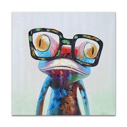 Felice rana online-Happy Frog Wearing Glasses Handpainted Moderna astratta di arte della parete pittura a olio Cartoon Animal Home Deco su tela. Multiplo formato opzione A122