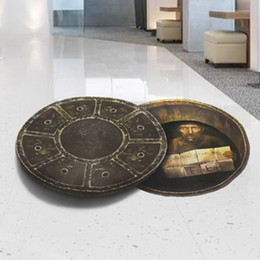 Wholesale Vinyl Floor Designs - Creative 3D Stereo Manhole Cover Wall Sticker Mall Store Floor Decoration Wall Mural Poster Art Please give me some Money for Eat Wall Quote