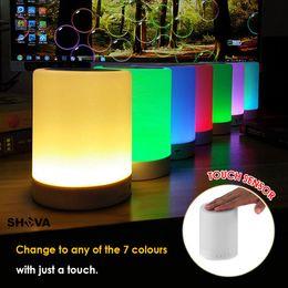 bluetooth lumière intelligente Promotion Led Veilleuse Sans Fil Bluetooth Musique Haut-Parleur Smart Touch Control Couleur LED lampe Lampe De Table De Chevet Haut-Parleur Lecteur USB Carte TF