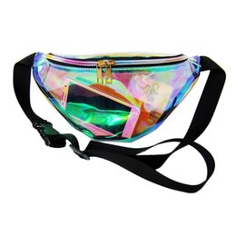 rainbow women belt Coupons - 2017 Rainbow Transparent PVC Bag Sier Hologram Laser Waterproof Belt Multi-functional Pockets Travel Bag Waterproof Waist Bag