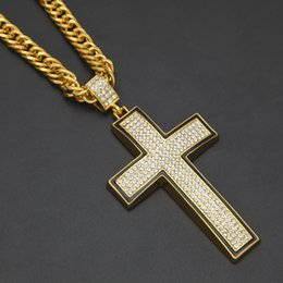 Wholesale Titanium Cross Necklace Men - Hip Hop Gold Color Titanium Stainless Steel 5 Row Micro Pave Rhinestone Iced Out Bling Cross Pendants Necklaces for Men Jewelry