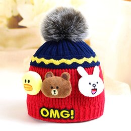 Wholesale Cheap Boys Hats - 2018 New Beanie Hats for Boys and Girls Winter Hat Bonnet Designer Cc Beanies Brand Kids Child Luxury Skull Cap Good Quality Cheap 46-50 cm