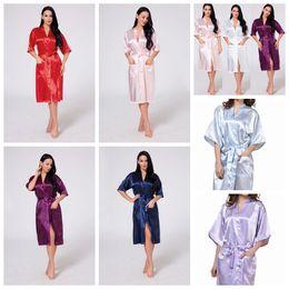 túnica larga noche Rebajas 11 cColores de las mujeres de seda túnica sólida novia nupcial dama de honor vestido de novia kimono pijamas largos noche de verano señora ropa de dormir AAA537