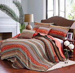 Wholesale Pink Striped Bedding - WINLIFE Striped Summer Quilts Bohemian Style Quilt Set Classical Striped Patchwork Quilt Boho Bedspread Cotton Quilted Bedding