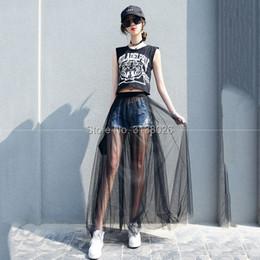 0a6460b16a China 2018 Lace Girl Summer Long Skirt Falda Mujeres Negro Blanco Mesh  Voile Faldas Casual cintura