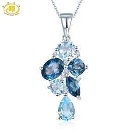 Pendenti londra online-Hutang London Blue Topaz Pendant Natural Gemstone Solid 925 Sterling Silver Necklace Fine Fashion Stone Jewelry Accessori regalo