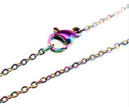 Argentina 20 unids / lote color del arco iris de 1.6 mm cadenas de acero inoxidable collar de color del arco iris 18 '' / 20 pulgadas cadena de eslabones de la joyería que hace SC003 Suministro