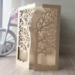 Wholesale Wedding Decorations Paper Laser - Wholesale-30pcs Lot Laser Cut Tree Inviting Card Paper Party Event Supplies Decoration Luxury Romantic Wedding Invitation With 21 colors