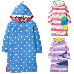 Wholesale formal hoodie - Shark Baby Girl Clothes Autumn Hooded Children One-Piece Dress Girls Costumes Jumper Kids Sweater Outfits Hoodies Top 1 3 5 7 9Y