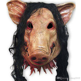 fancy long hair Coupons - Scary Pig Mask with Long Black Hair Full Head Halloween Party Mask Cospaly Animal Latex Masquerade Fancy Dress Carnival Mask