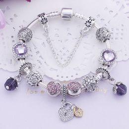 bracelet en or blanc Promotion 11 couleurs mode marguerites en argent sterling 925 verre de Murano perles de cristal européen de charme pour bracelets à breloques style bracelets 20 + 3cm AA02