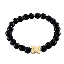 Wholesale unique steel bracelet - 2018 New Unique Design Popular Fashion Nature Black Stone Beads Bear Bracelet Handmde for Women and Men