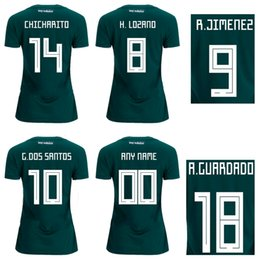 Wholesale Mexico Football Top - 18 19 Mexico Home Green Soccer Jerseys Women's Top Thai Quality Football T shirts Girl's Outdoor Athletic 1617 Mexico Lady's Sports Jerseys