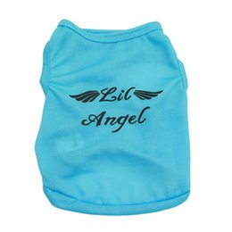 Wholesale blue wings costume - Single Blue Color Cute Angle Letter Wing Printed Fashion Easy Wear Puppy Cat Soft Dog Clothes