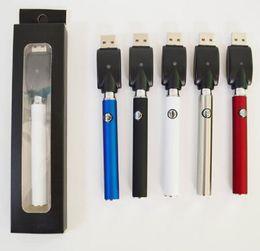 Penne personalizzate online-350 mAh Vertex Preriscaldamento Batterie a tensione variabile Penna a cera Vape Batteria E-cig Penna a spirale Vape Logo personalizzato 510 Batteria a filo con caricatore USB