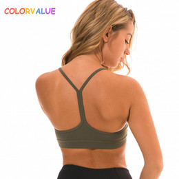 bb4bb97fabbc2 Colorvalue Anti-sweat Y-Type Yoga Fitness Bra Crop Top Women Push Up Soild Workout  Gym Brassiere Sports Bras with Removable Pads