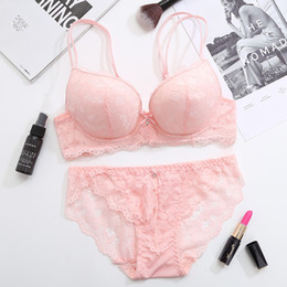 Wholesale Underwire Cups - Femal Intimates Floral Sexy Lingerie Set Gather Adjustable Underwear Women Lace Push Up Bra Set Thick Cup Bra And Panty Briefs