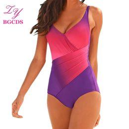Wholesale sexy women swim suits - One Piece Swimsuit Monokini Swimwear Women Gradient Swimming Suit Sexy Bathing Suit Padded Beachwear Wire Free Swim Wear