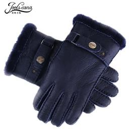 2019 кожаные перчатки Joolscana fur gloves men leather gloves winter very thick sheep fur mitten blue colour new  driving tactical mitten дешево кожаные перчатки
