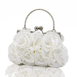 Wholesale blue satin evening bag - Elegant Women Satin Rose Floral Rhinestone Handbag Small Evening Bags Women's Party Clutch Flower Female Wedding Handbags White