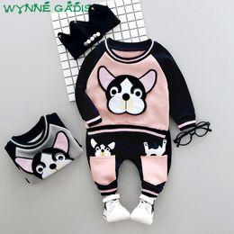 Wholesale Fleece Set Sweatshirt Piece - Winter Baby Boys Long Sleeve Cute Dog Fleece Hoodies Sweatshirt + Casual Trousers Kids Girls Two Pieces Suits Clothing Sets
