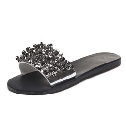 Wholesale Silver Crystal Wedge Shoes - Women Sandals Flips Flops 2018 Summer Style Shoes Woman Wedges Sandals Fashion Rivet Crystal Platform Female Slides Ladies Shoes