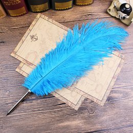 Wholesale Wholesale Quill Feathers - 11Colors Ostrich Feather Quill Ballpoint Pen For Wedding Gift Office School Supplies Fountain Pen