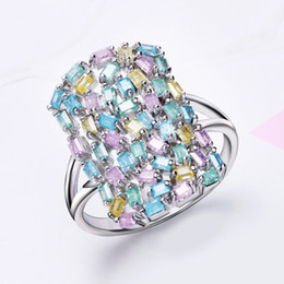 Wholesale Rectangle Crystal Ring - whole saleNew Light Colorful Jewelry Cute Design Big Rectangle Shape Geometry Random Stones Setting Fashion Pastel Color Crystal Rings