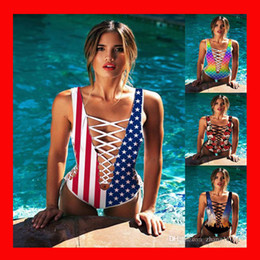 Wholesale Lace Bathing Suits - 2018 women Sexy one piece swimwear 3d print Star rainbow lace up Bikini swimsuit Floral bathing suit hollow out American flag bodysuit