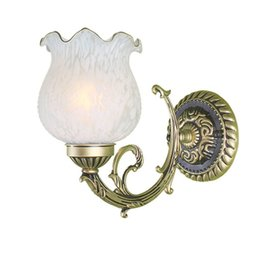 Retro Iron Bedsides Wall Lamps European Classic Glass Living Room Wall Light Study Room Hallway Wall Sconce
