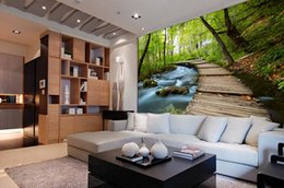 Wholesale Vintage Televisions - Seamless large fresco 3d 3d video wallpaper wallpaper living room sofa television background wall murals green pastoral