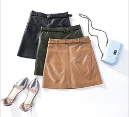 Wholesale Genuine Leather Skirts - Korean version High waist Self-cultivation Genuine Leather Women style A-line Short skirt