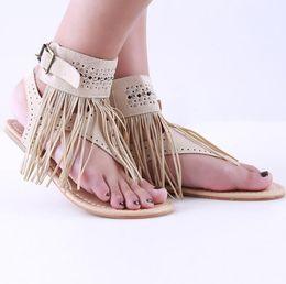 Wholesale Wholesale Designer Sandals - 2018 fashion Summer New Bohemia designer handmade flat Women Sandals Tassel Woman Flip Flops Vintage Women Beach Shoes