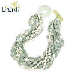 green pearl big chain Coupons - Lii Ji Natural Chinese Serpentine jade,Freshwater Pearl Beads 9 Rows With Big Jade Toggle Clasp Necklace