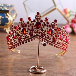 Wholesale Vintage Crystal Hair Accessories - 6.5cm High Baroque Vintage Bridal Wedding Prom Red Rhinestone Crystal Crown Tiaras Headbands Jewelry Headpiece Hair Accessories Handmade