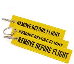 Quitar etiquetas online-Llavero QUITAR ANTES DEL VUELO Lienzo bordado Color opcional Llavero Etiqueta de etiqueta de equipaje Aviación Accesorios de moda GGA233 200PCS