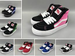 Meilleurs cadeaux de bébé en Ligne-Enfants koovans chaussures de skateboard Old Skool classique blanc noir enfants haut-dessus toile toile Casual chaussure garçon fille formateurs baskets cadeau de bébé 22-35