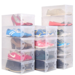Wholesale crystal clear storage boxes - New Arrival Transparent Stackable Crystal Clear Plastic Shoe Clamshell Storage Boxes 10pcs per lot Free Shipping