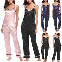 Women s Sexy Satin Lace Sleepwear Sets Ladies Solid Babydoll Lingerie Nightwear  Women Pajamas Sets Female V-Neck Vest Pants 2Pcs 3878deea2