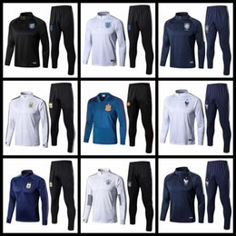 Wholesale Beige Suits - 2018 World Cup Training Suit 2019 France Football jacket Portugal Brazil England Spain Germany Argentina Training Suit