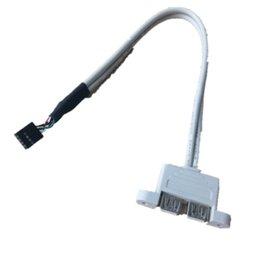 Usb-port-motherboard-kabel online-30cm Motherboard Interne 9pin Pitch 2,54 mm Dual Port USB 2.0 Eine weibliche Schraubensicherung Panel Mount Kabel