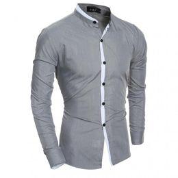 Wholesale Mens Poplin Shirts - ZEESHANT Men Long Sleeve 2018 Brand Male Slim Fit Fashion Spell Color Chemise Mens Camisas Dress Shirt in Men's Tuxedo Shirts