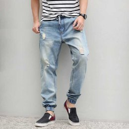 31962044a27 Denim Ripped Jeans Men Drawstring Plus Size Harem Jeans Hiphop Mens Baggy  Tapered Stretch Male M-6XL